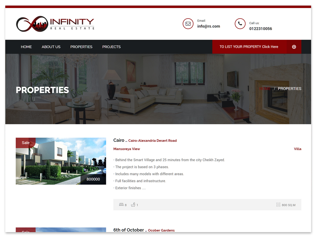 Infinity Real Estate  | Web Solutions
