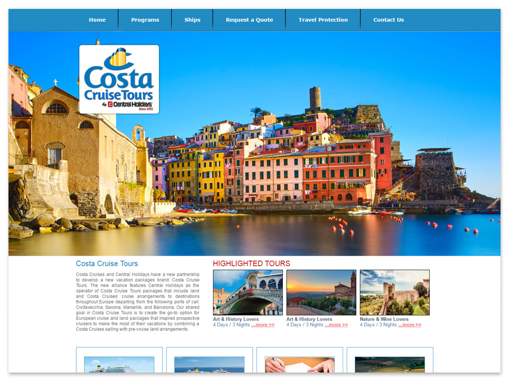 Costa Cruise Tours | Web Solutions