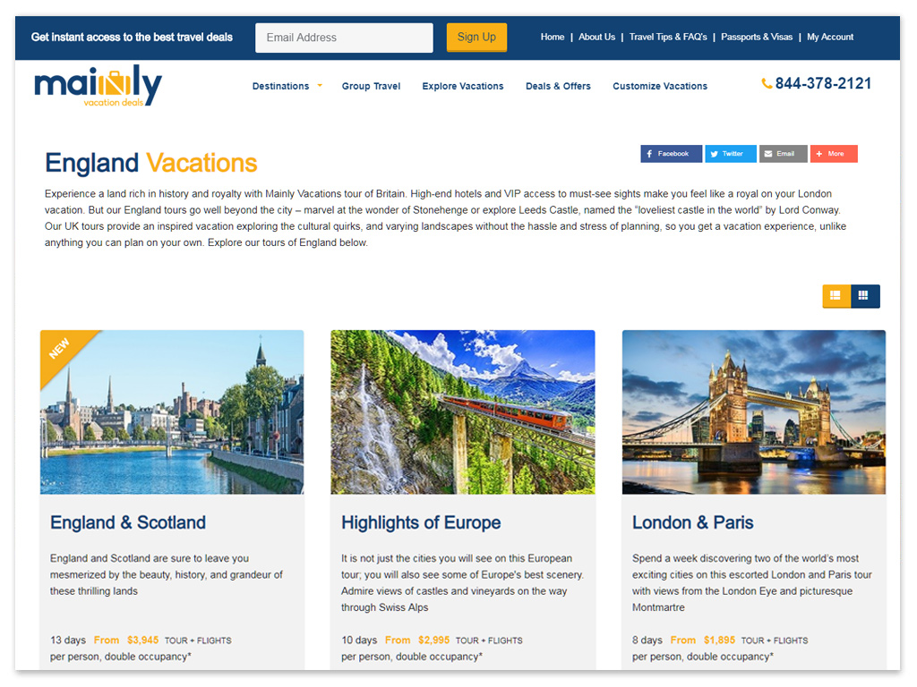Mainly Vacations | Web Solutions