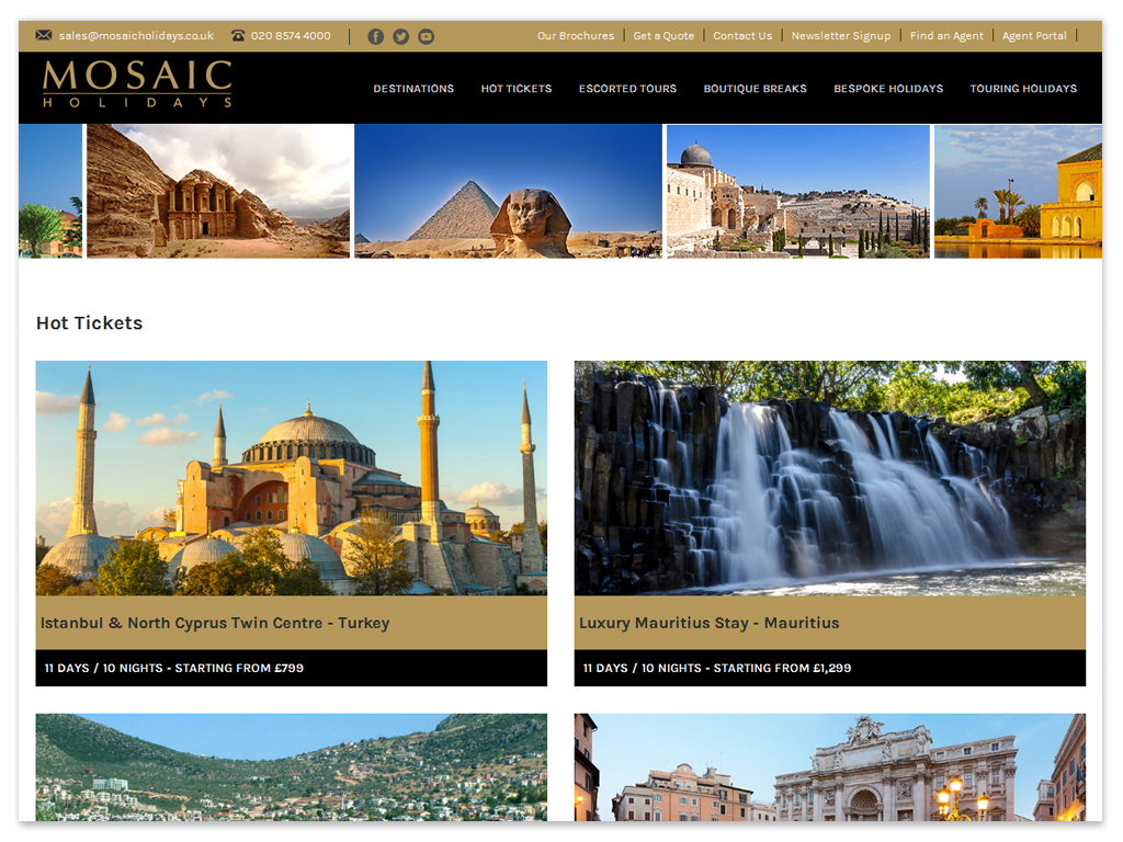 Mosaic Holidays | Web Solutions
