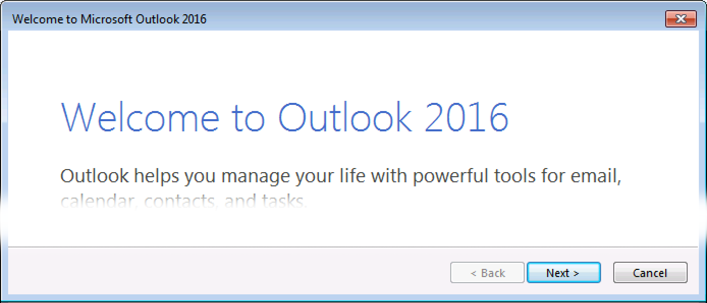 Outlook 2016 Windows Set up email